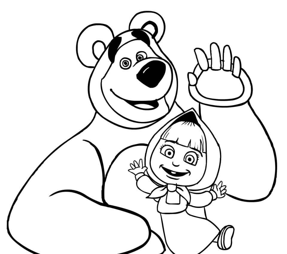 Раскраска Маша и Медведь 5