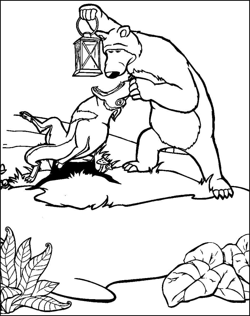 Раскраска Маша и Медведь 8