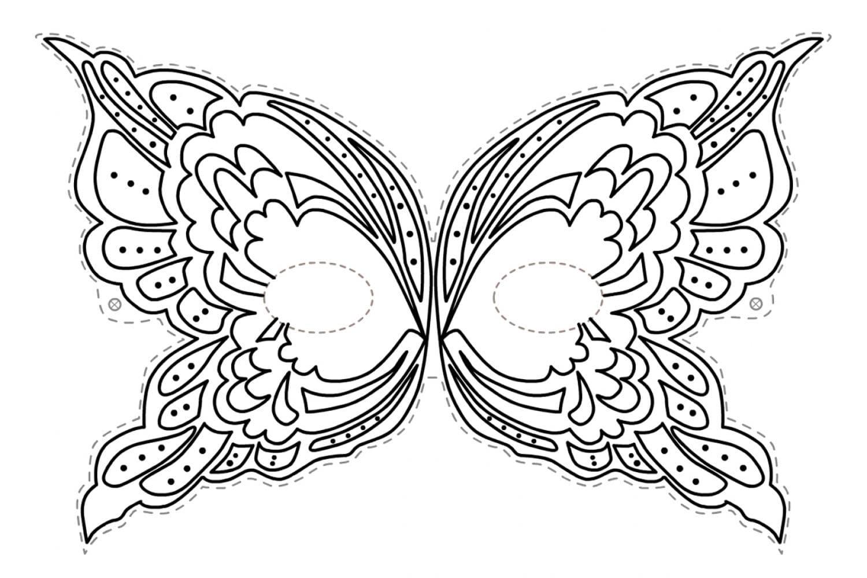 Раскраска Маска бабочка