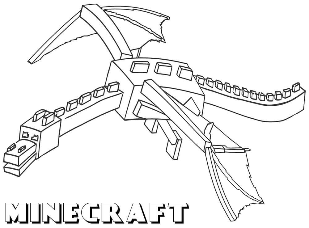 Раскраска майнкрафт эндер дракон