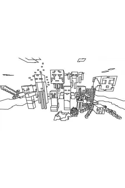 Раскраска Minecraft мобы