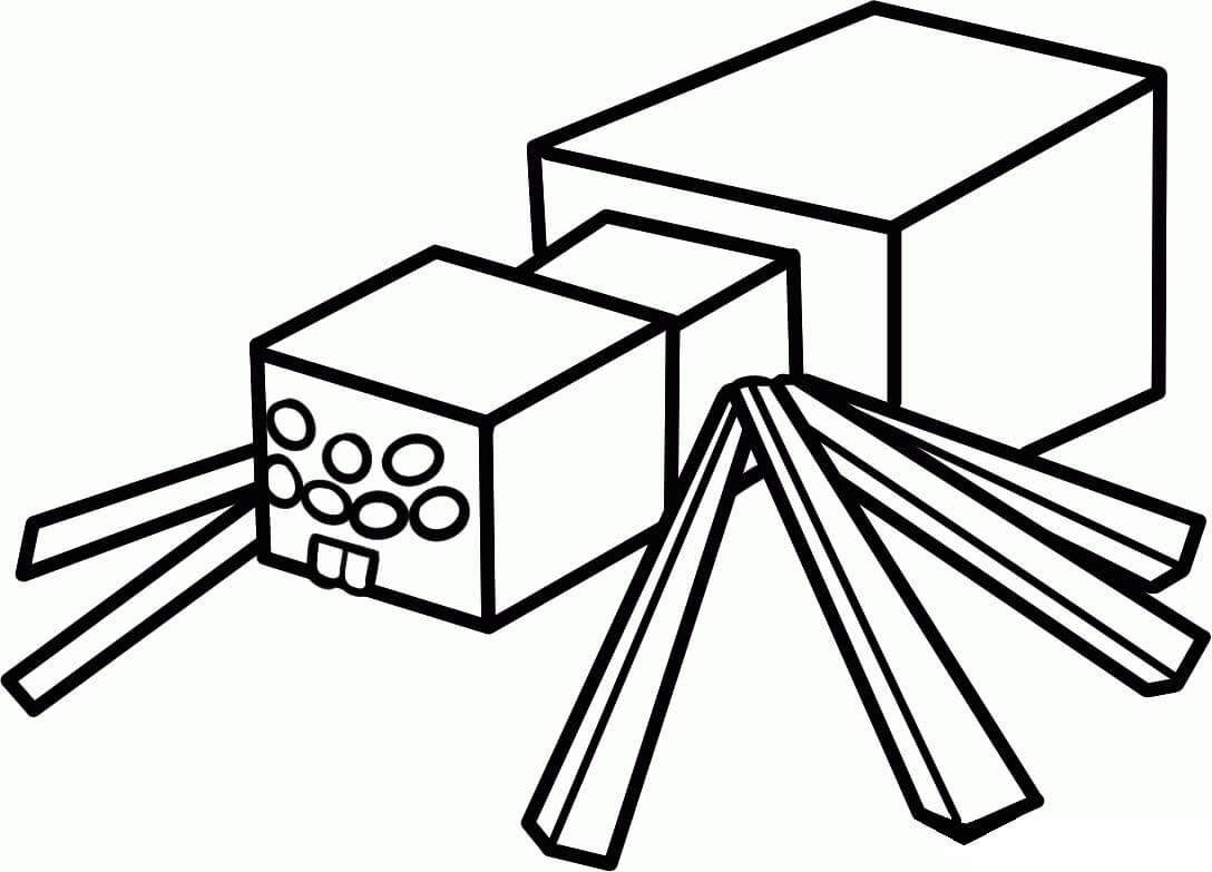 Раскраска майнкрафт паук