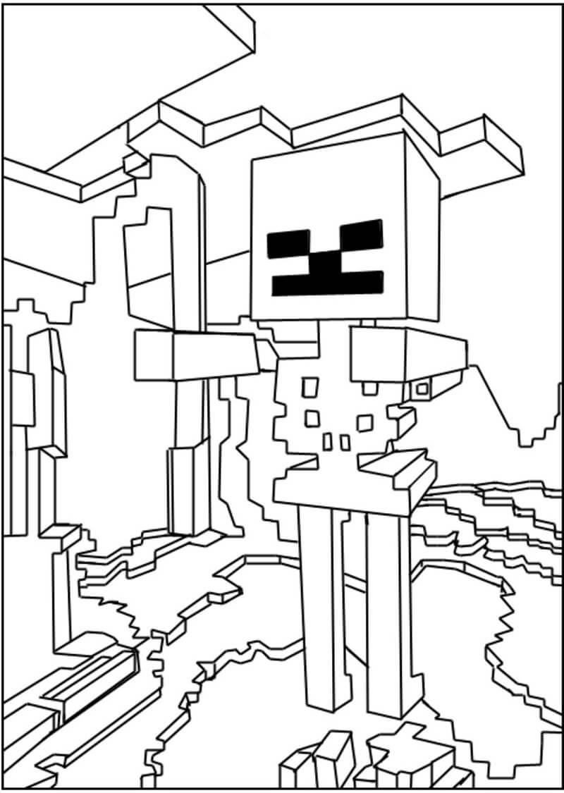 Раскраска майнкрафт скелет