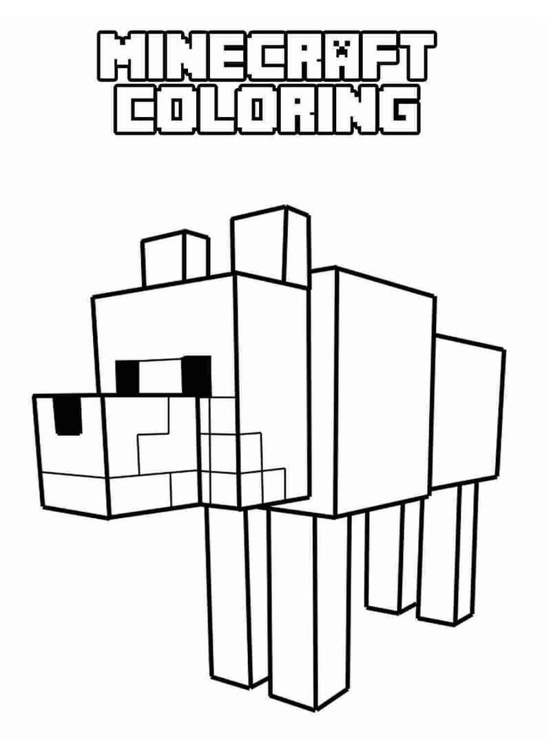 Раскраска майнкрафт собака