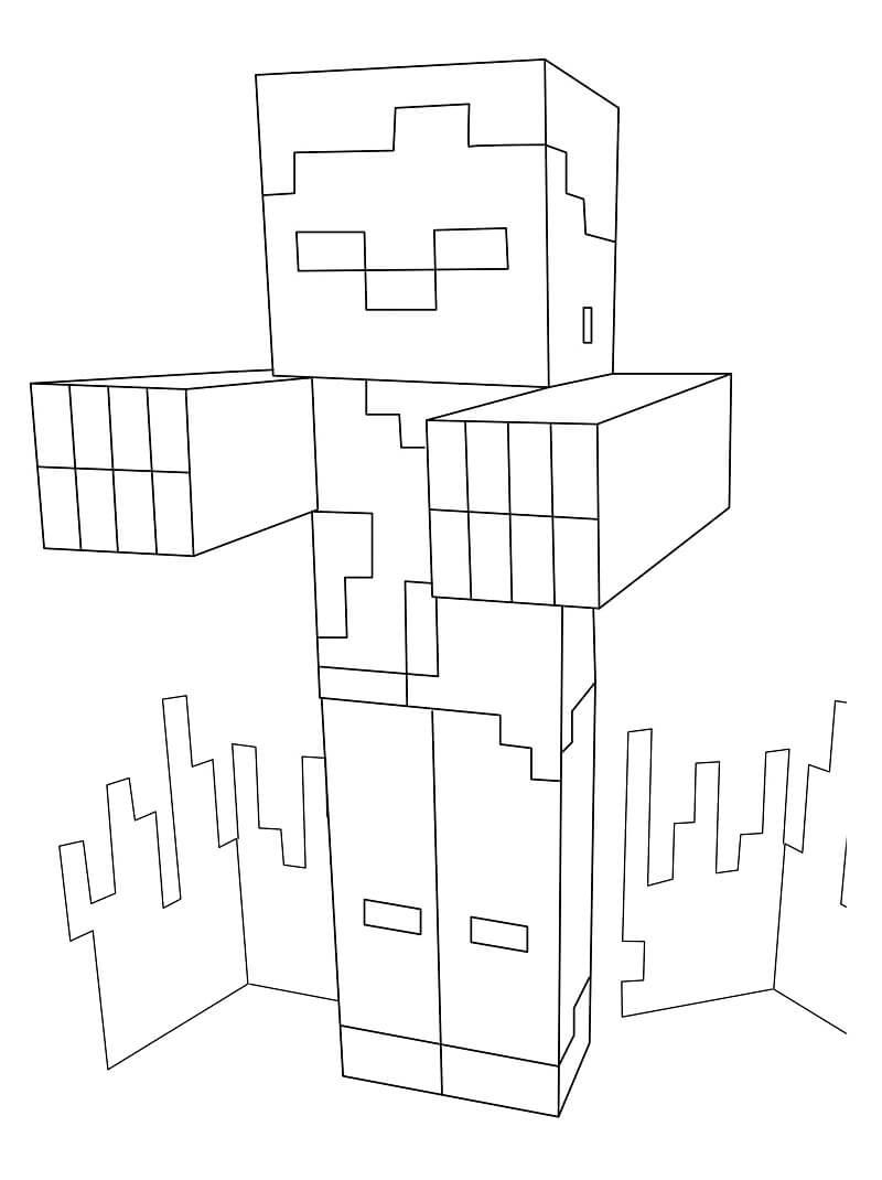 Раскраска майнкрафт зомби 1
