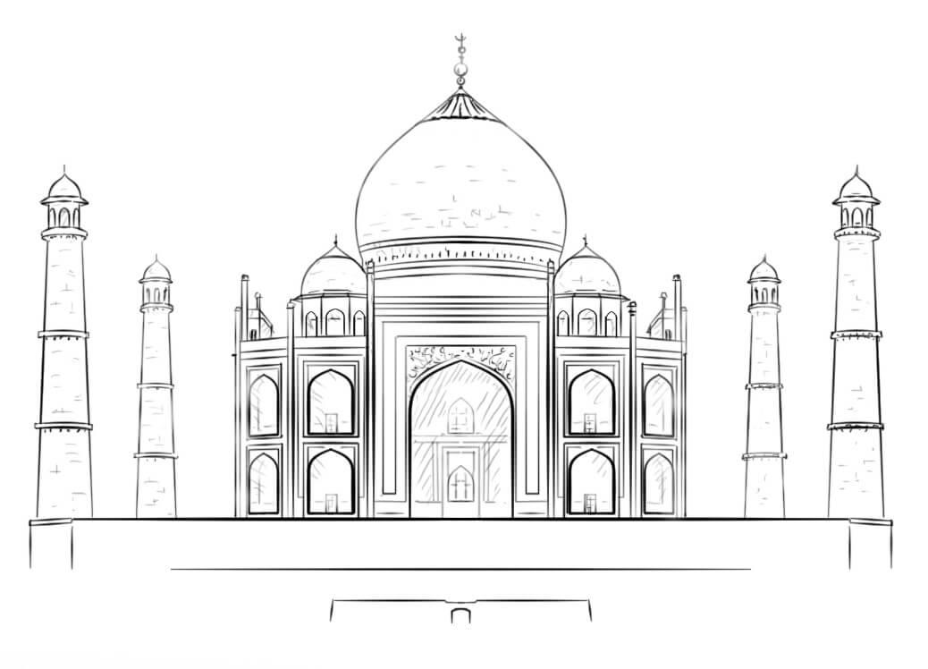 Раскраска Мечеть Тадж-Махал