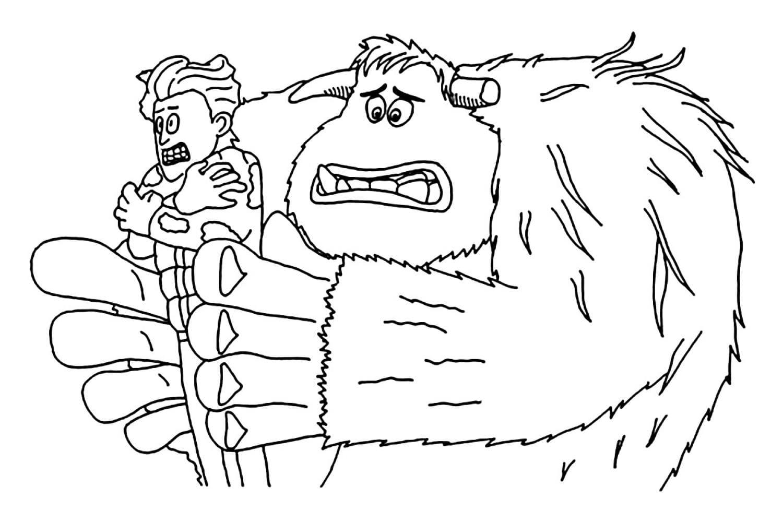 Раскраска Миго и замёрзший Перси