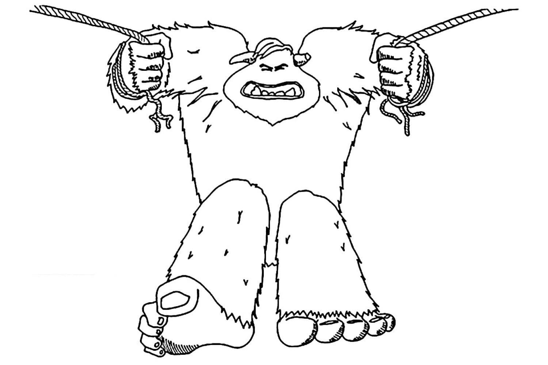 Раскраска Миго повис на верёвке