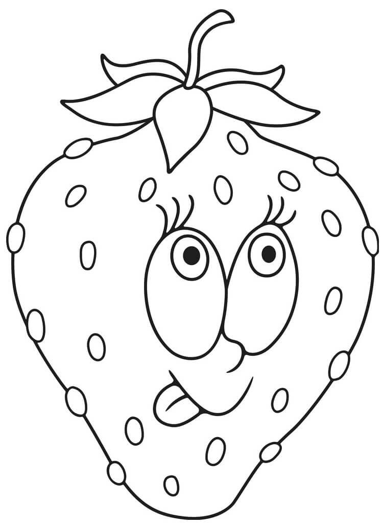 Раскраска милая клубника 1