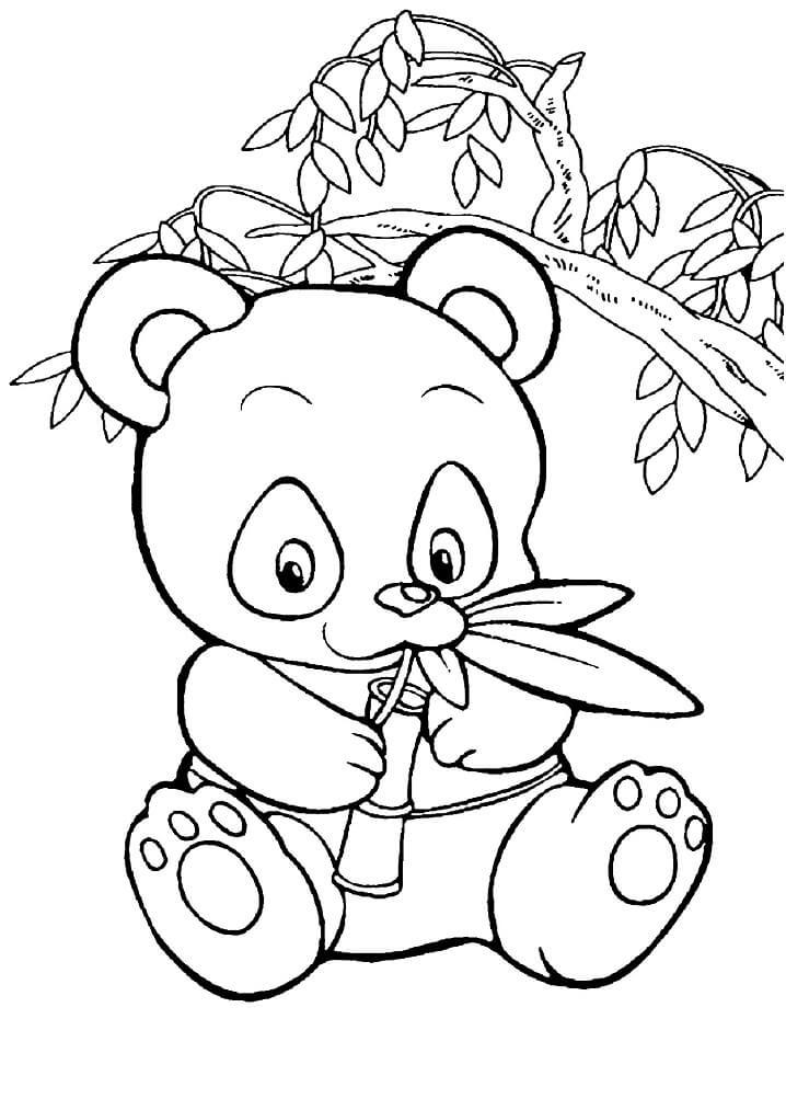 Раскраска милая панда 1