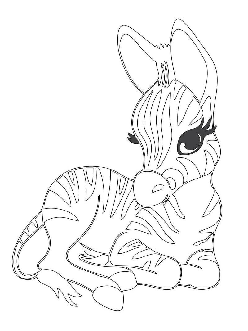Раскраска милая зебра 2