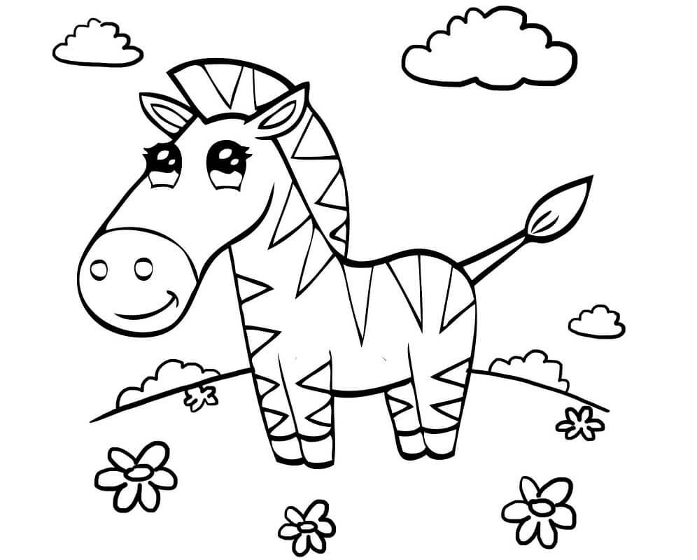 Раскраска милая зебра 3