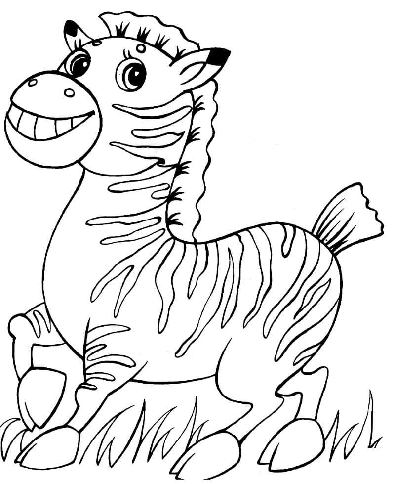 Раскраска милая зебра 4