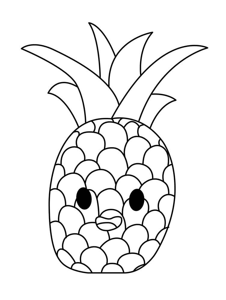 Раскраска милый ананас 1