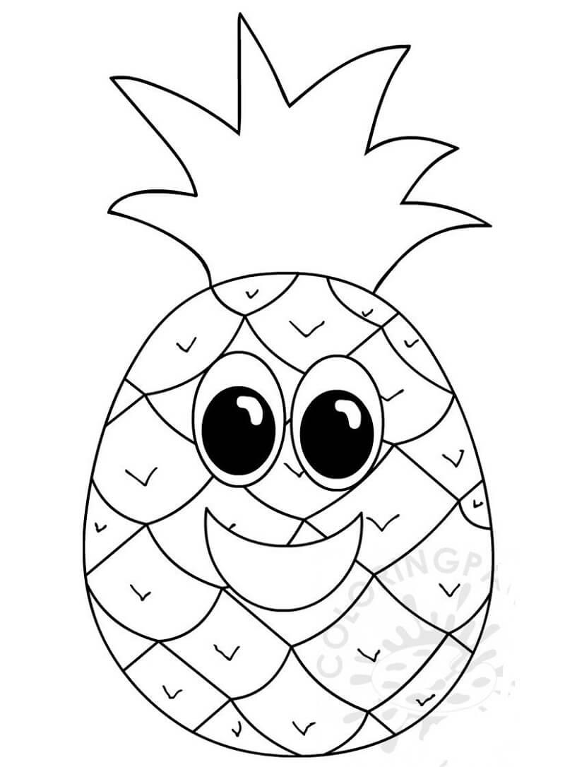 Раскраска милый ананас 2