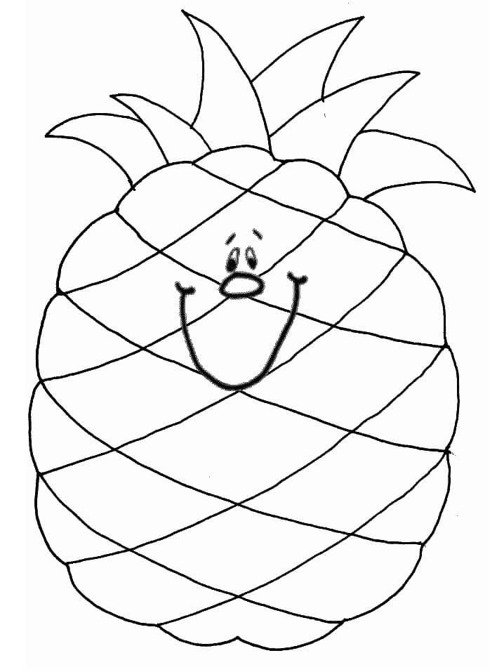 Раскраска милый ананас 3
