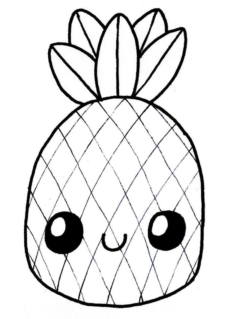 Раскраска милый ананас