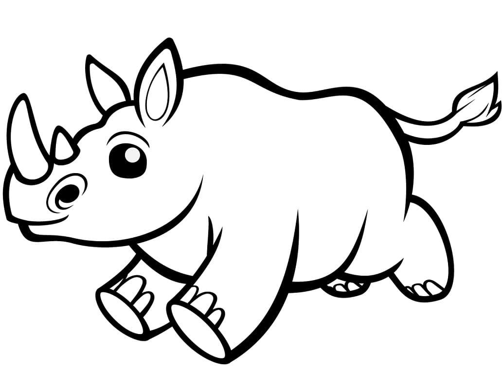 Раскраска милый носорог