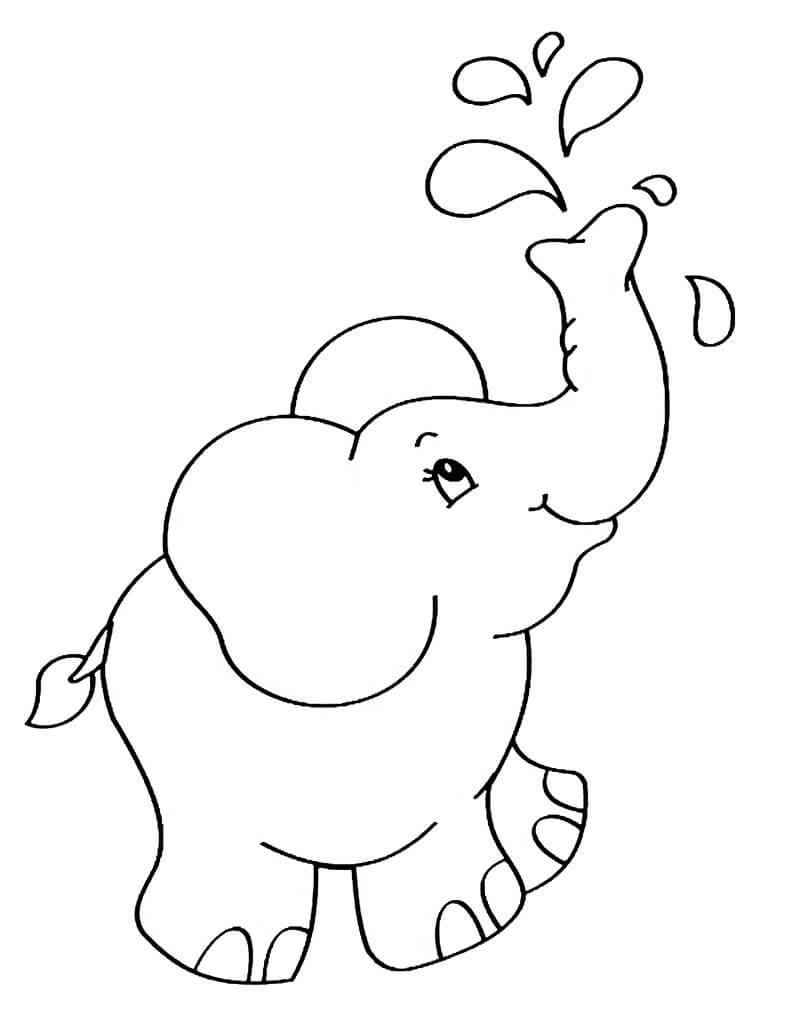 Раскраска милый слон 1
