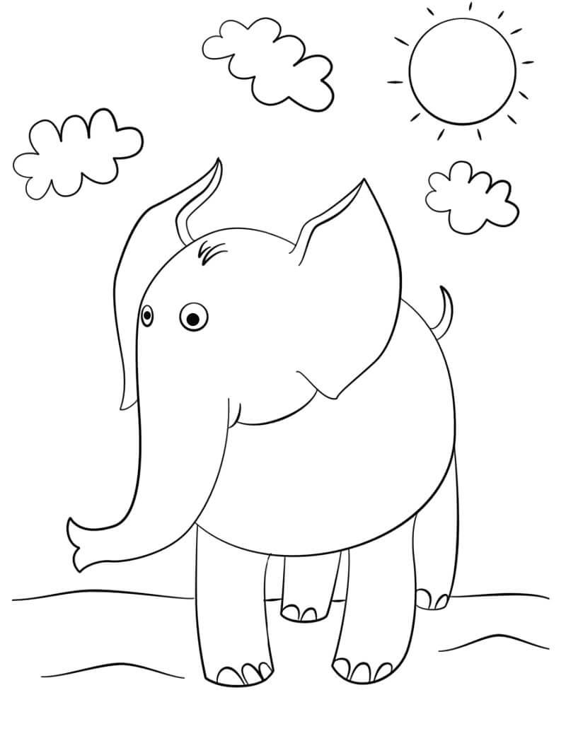 Раскраска милый слон 2