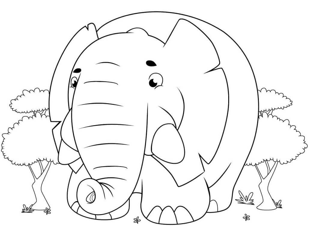 Раскраска милый слон 3