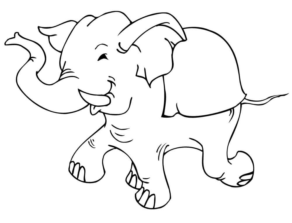 Раскраска милый слон 4