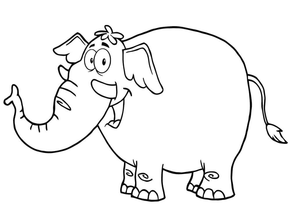 Раскраска милый слон 5