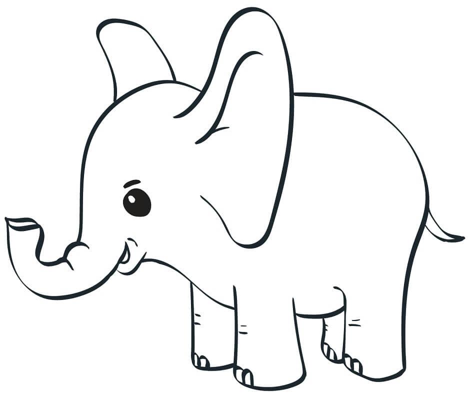 Раскраска милый слон
