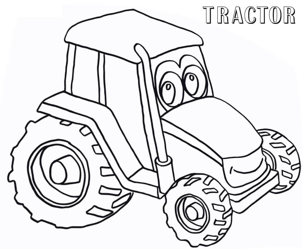 Раскраска милый трактор
