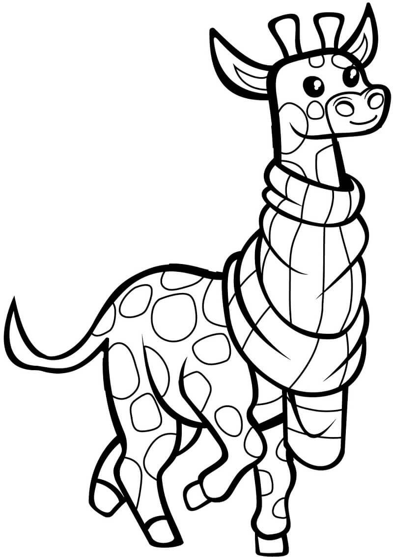 Раскраска милый жираф 1
