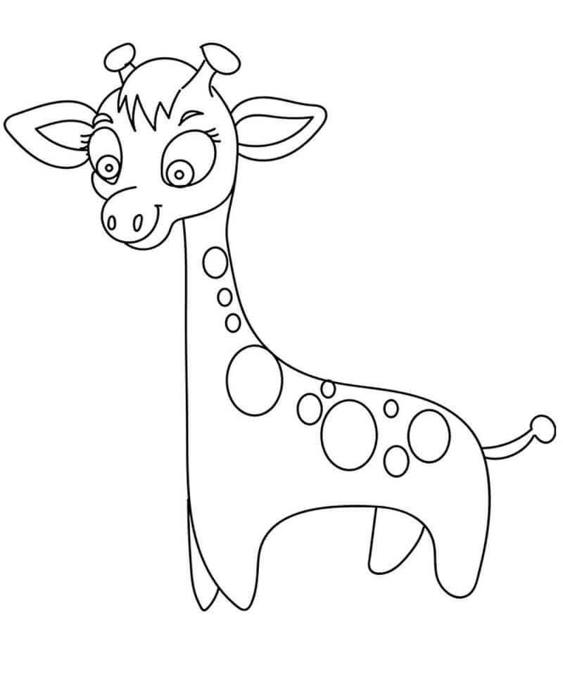 Раскраска милый жираф 4