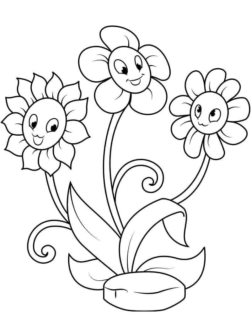 Раскраска милые ромашки
