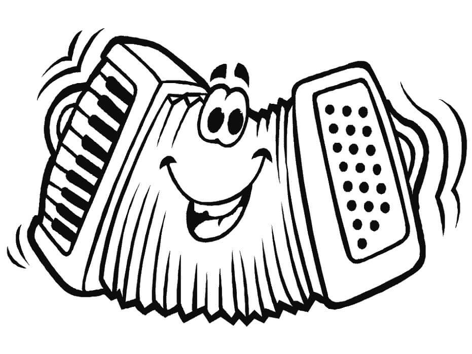 Раскраска мультфильм аккордеон
