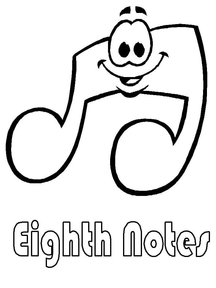 Раскраска мультфильм музыкальная нота 1