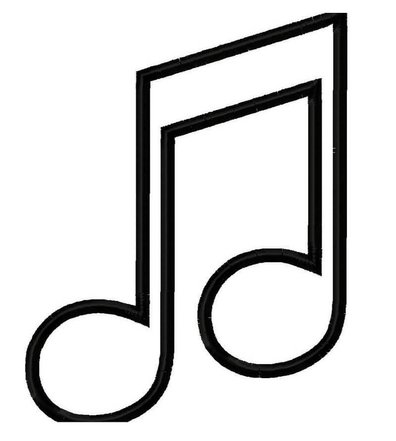 Раскраска музыкальная нота 1