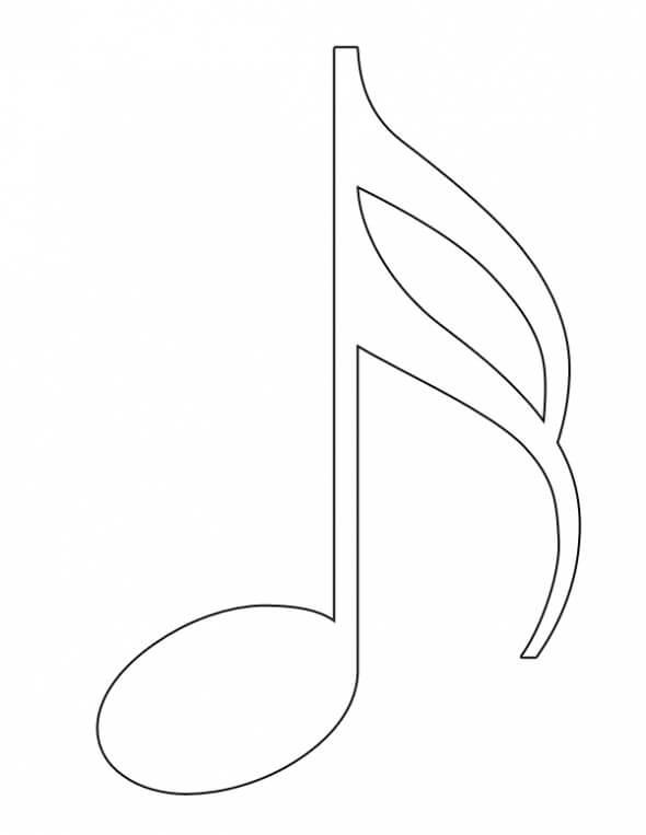 Раскраска музыкальная нота 4