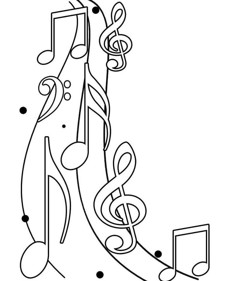 Раскраска музыкальных нот 1