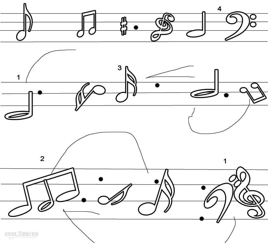 Раскраска музыкальных нот 4