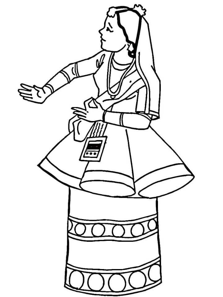 Раскраска Национальный костюм