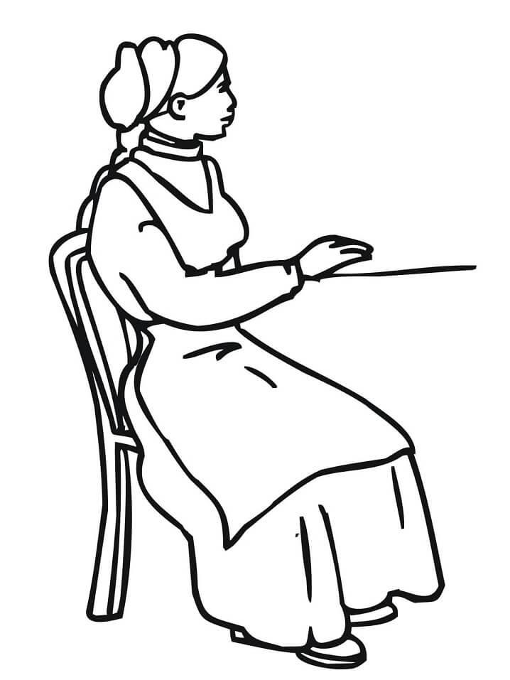 Раскраска Норвежка в национальном костюме