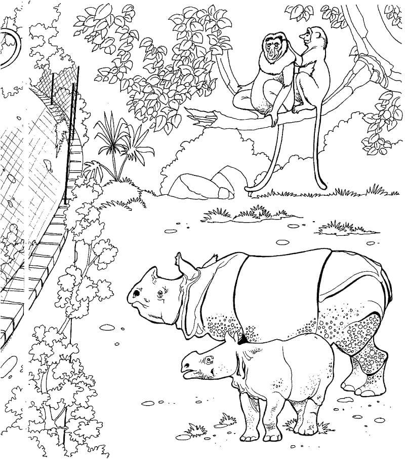 Раскраска носорога 1