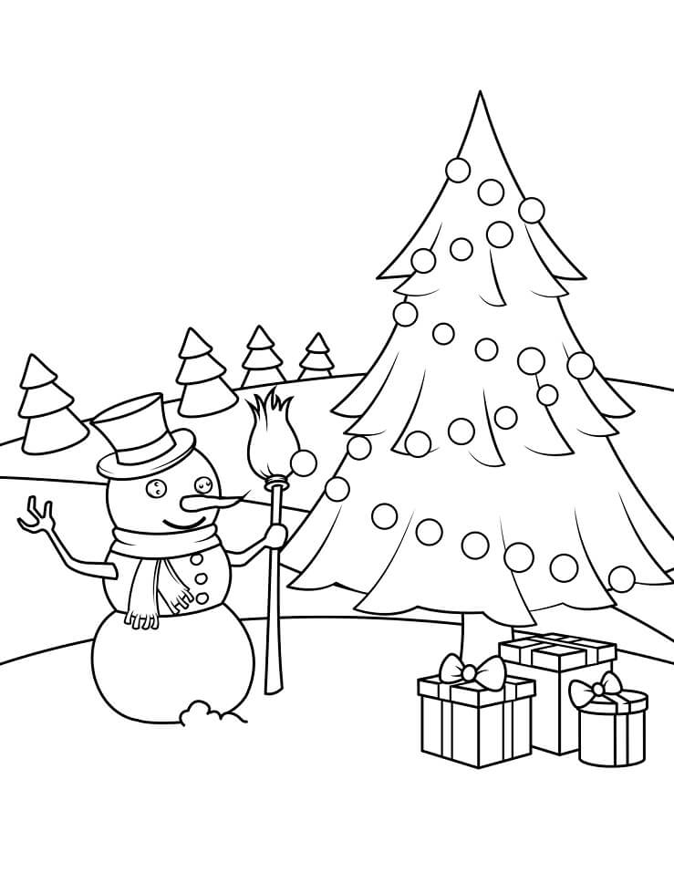 Раскраска новогодний снеговик 3