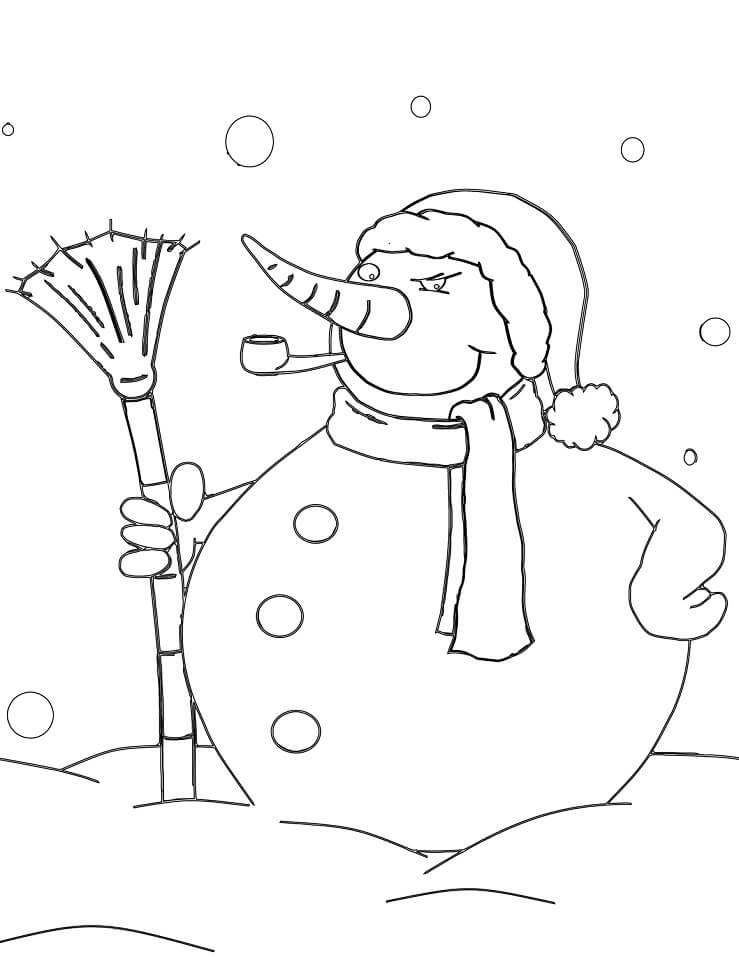 Раскраска новогодний снеговик 4