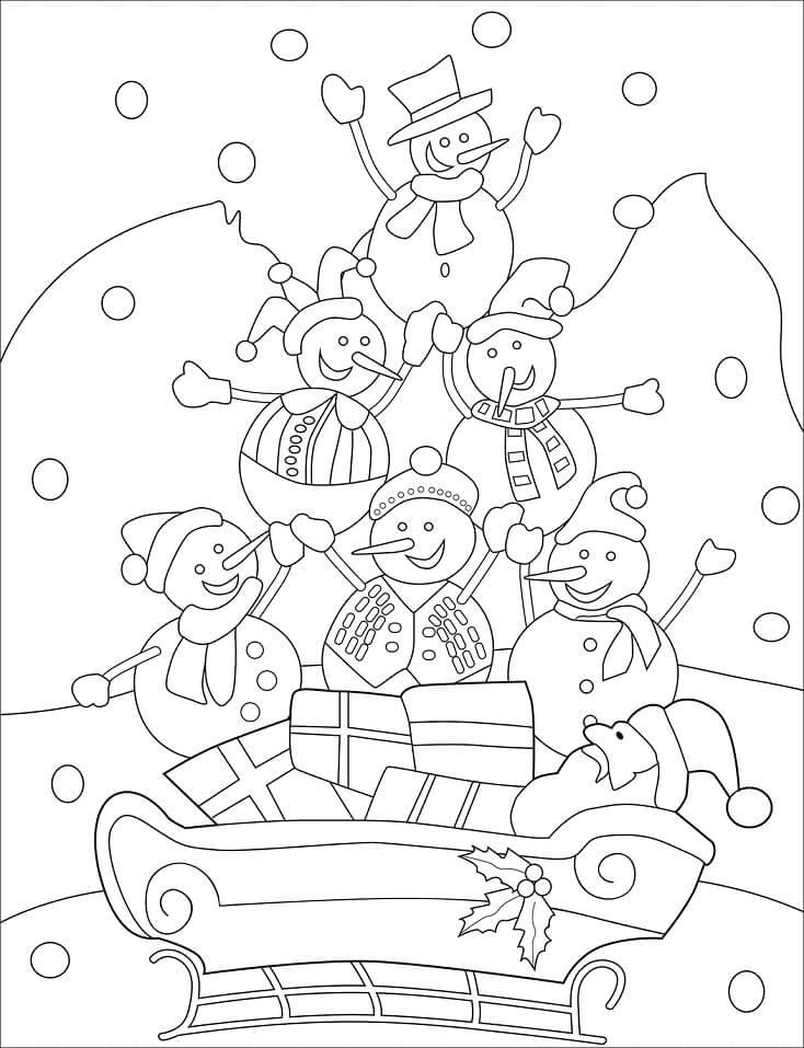 Раскраска новогодний снеговик 5