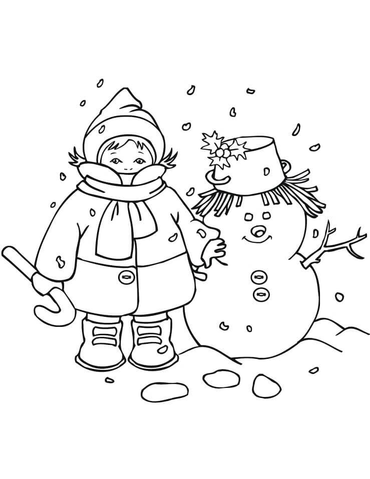 Раскраска новогодний снеговик 6