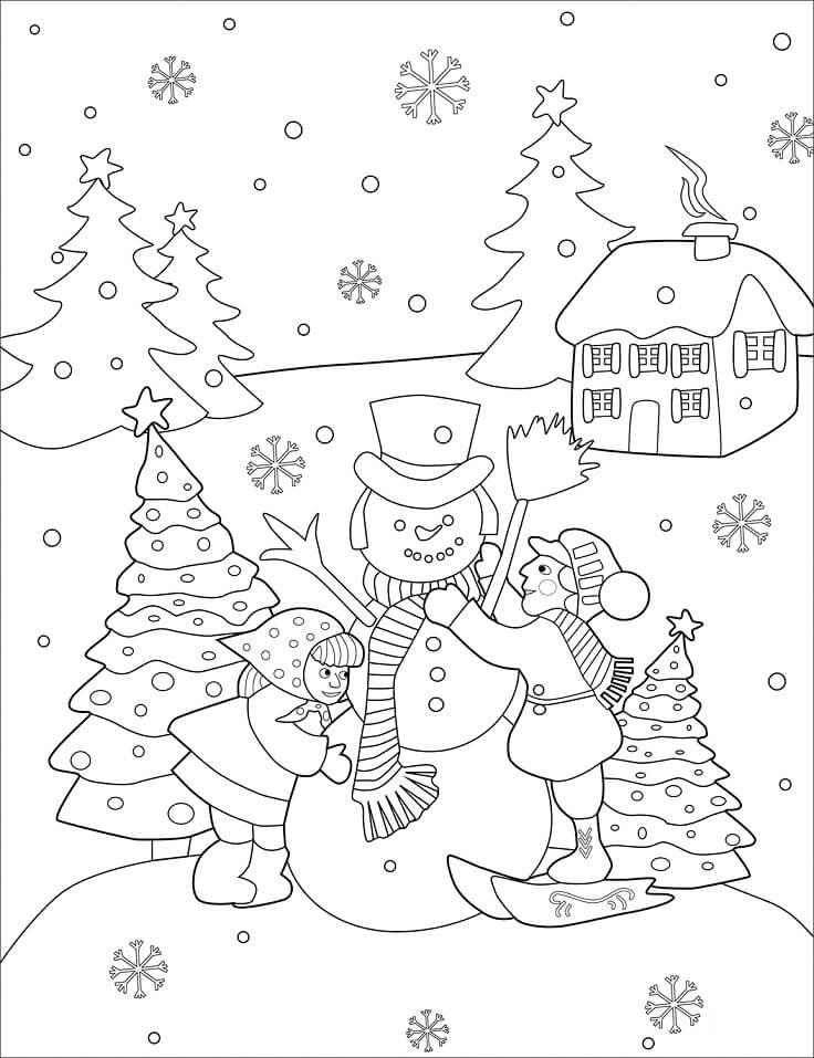 Раскраска новогодний снеговик 7