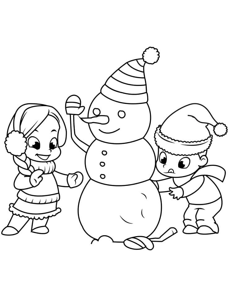 Раскраска новогодний снеговик 8