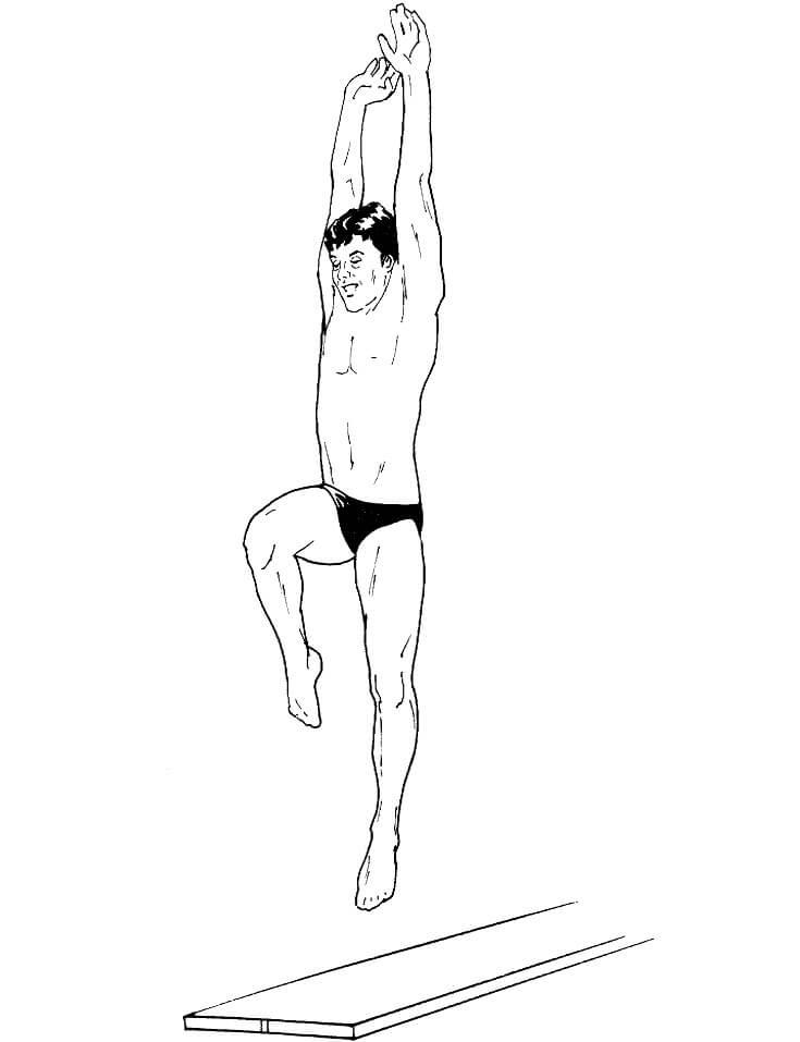 Раскраска Ныряльщик на трамплине для прыжков