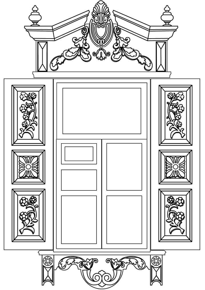 Раскраска Окно в стиле сибирского барокко