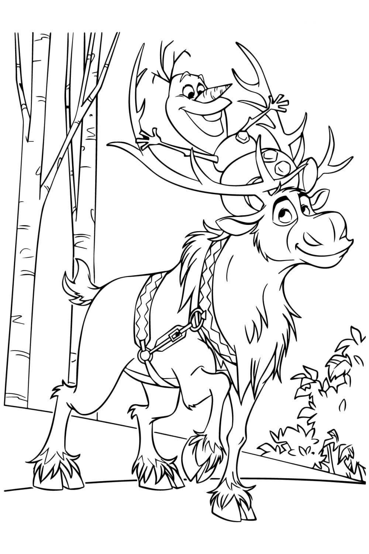 Раскраска Олаф и Свен в лесу